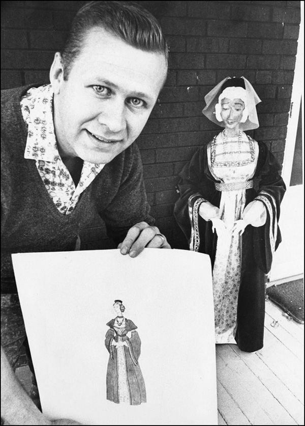Ted Konkle with conceptual drawing and figure, 1961