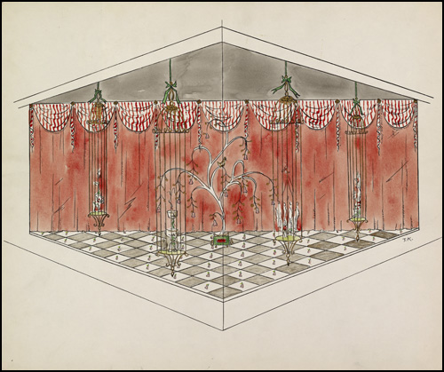 Twelve Days of Christmas window display conceptual drawing by Ted Konkle, 1959