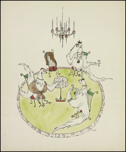 Three French Hens conceptual drawing by Ted Konkle,1959