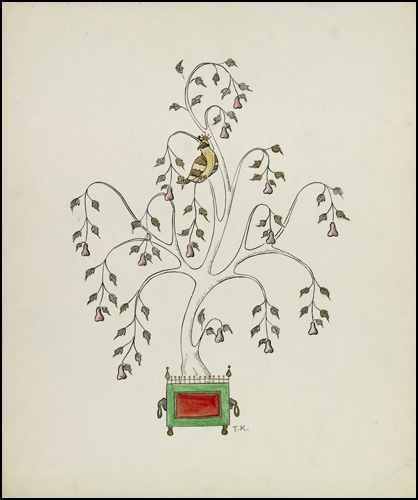 Partridge in a Pear Tree conceptual drawing by Ted Konkle, 1959