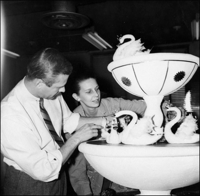 Ted and Eleanor working on swans display, 1959