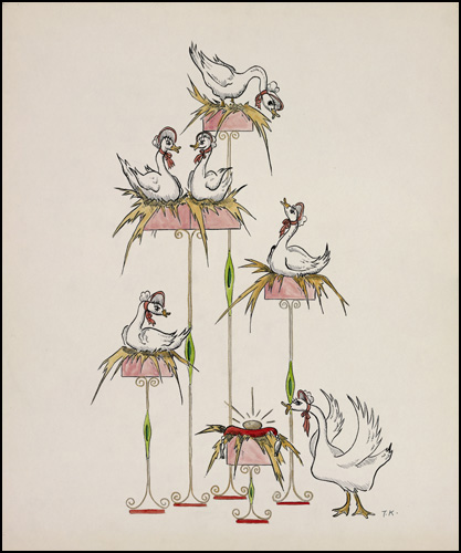 Six Geese a-Laying conceptual drawing by Ted Konkle, 1959