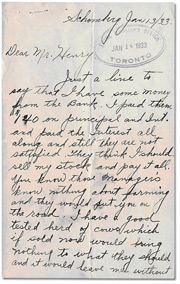 Scanned image of a handwritten letter from the depression