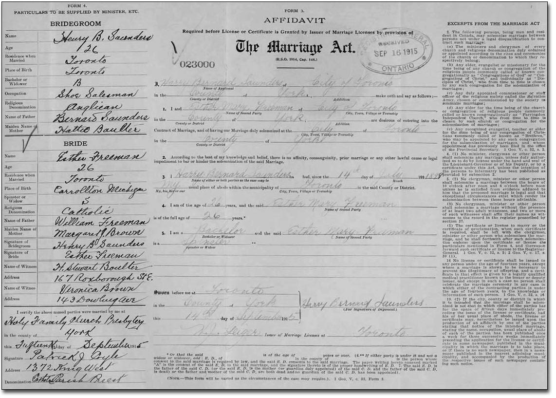 Example of Marriage Registration 1911 to 1925 (back)