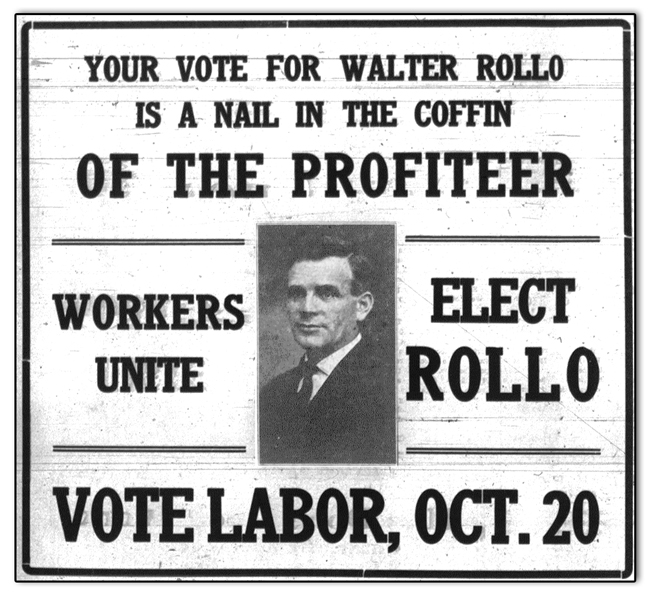 Campaign advertisement for Walter Rollo