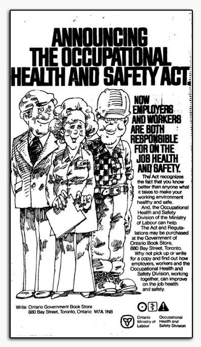 Newspaper ad announcing the Occupational Health and Safety Act