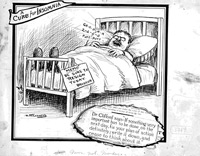 Political cartoon showing a man asleep in bed