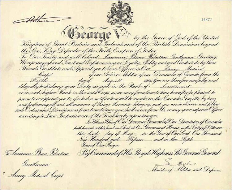 Certificate appointing Robertson to the rank of Lieutenant in the Army Medical Corps,
