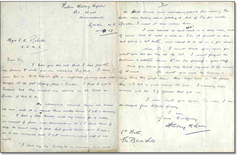 Letter from Finlay McLean to L. Bruce Robertson, October 11, 1917