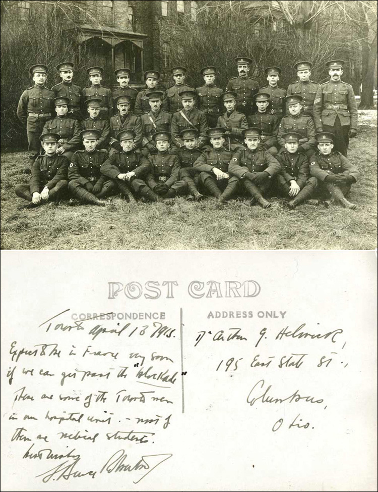 Postcard from L Bruce Robertson to Dr. Arthur G. Helwick [Robertson at centre], April 1915.