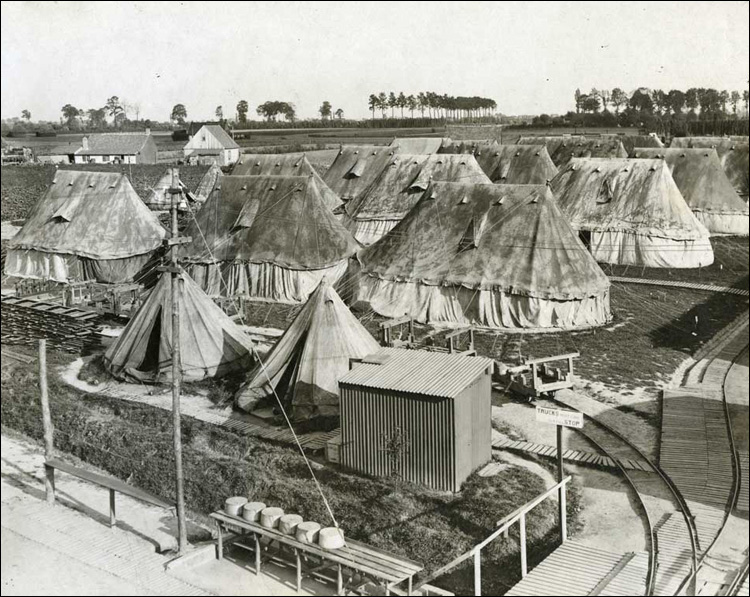 Tents for extra accommodation, stained for camouflage, ca. 1916-1918