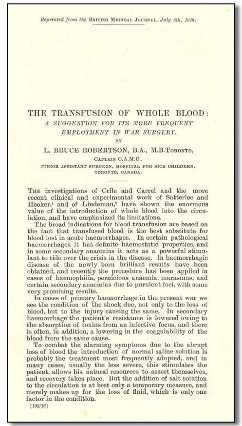 The Transfusion of Whole Blood