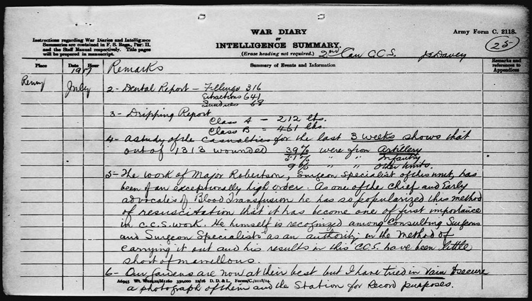 War diaries - 2nd Canadian Casualty Clearing Station, 1915-1919