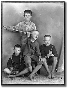 Photograph of boys mugging for camera